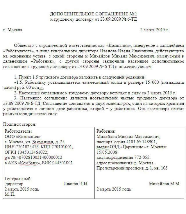 Дополнительное соглашение об отмене дополнительного отпуска образец