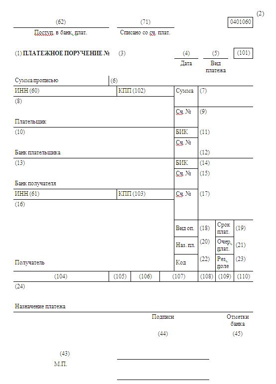 Вид операции в платежном поручении 2016 расшифровка