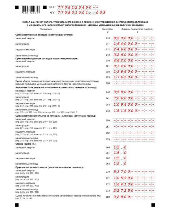 Налоговая декларация по УСН за 2016 год: образец заполнения