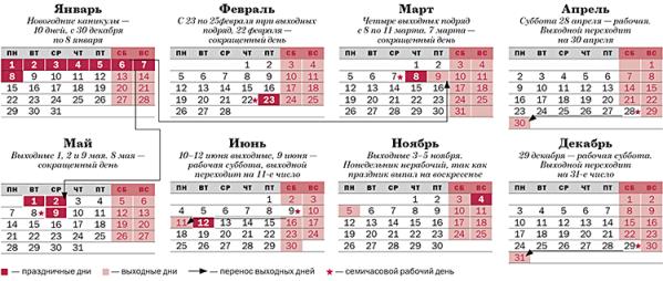 2018 1 - Праздничные и выходные дни в России в 2018 году