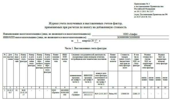 Журнал учета счетов-фактур 2017
