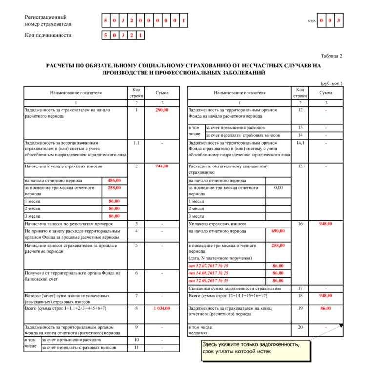 Заполнение таблицы 4 раздел 1 4-фсс