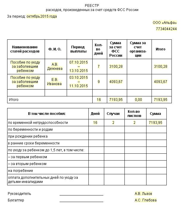 Как подготовить для ФСС реестр больничных листов
