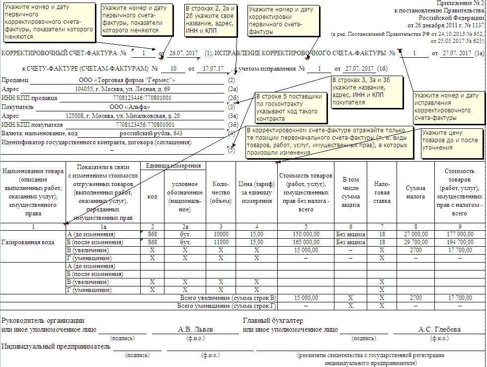 бланк карректировочной фактуры