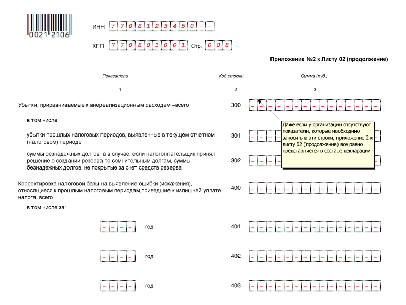 образец заполнения декларации по налогу на прибыль за 2015 год с убытком - фото 11