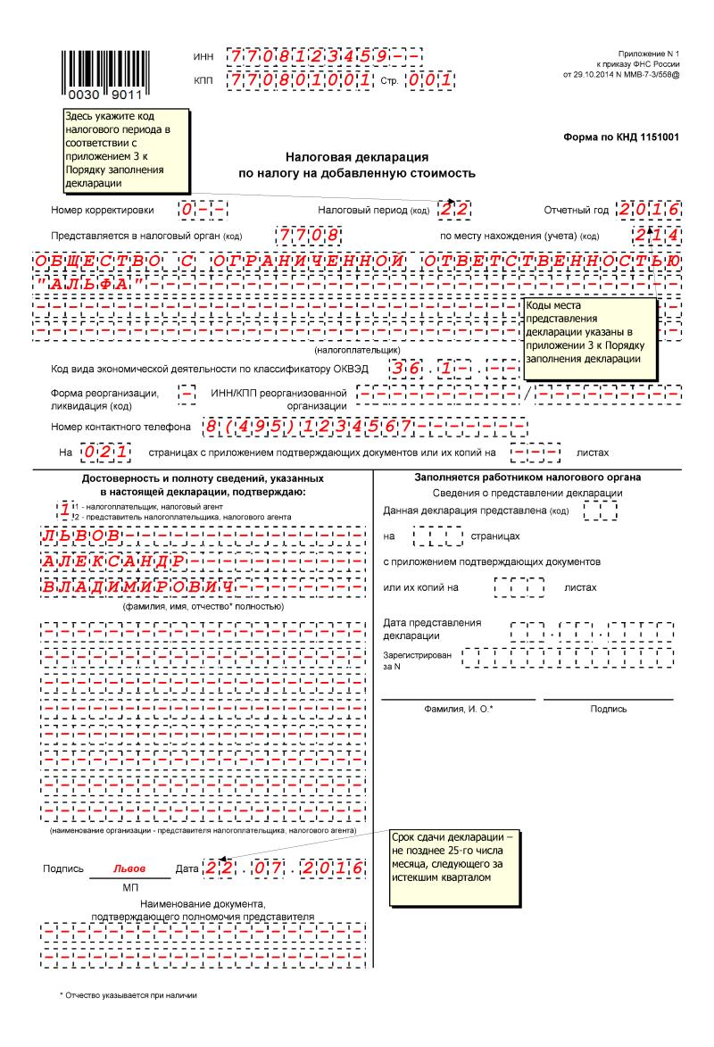 2 квартал 2011 бланк декларация ндс
