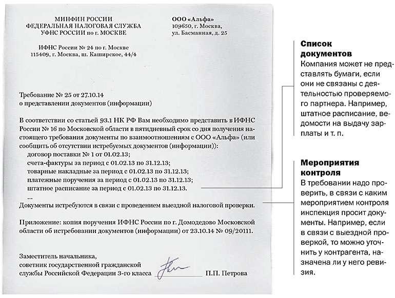 Поручение на истребование документов