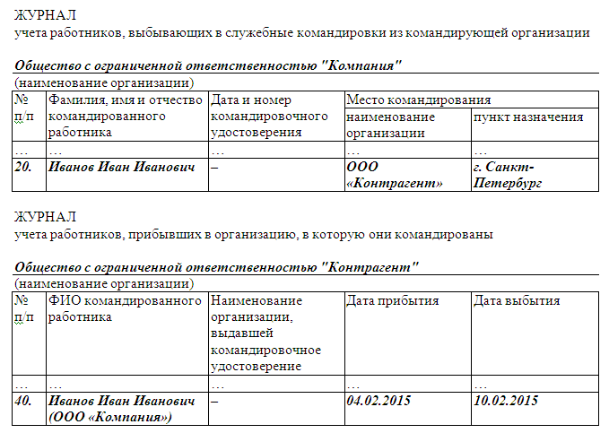 приказ о командировке 2015 образец
